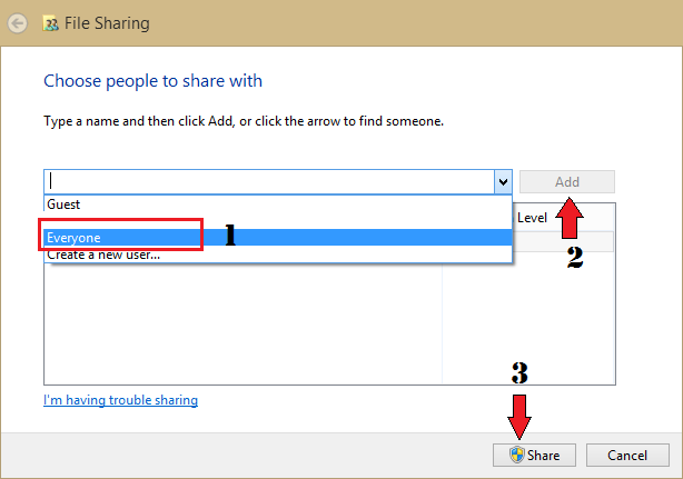 choose people to share with files