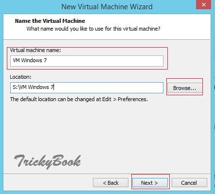 Change name and path of the virtual machine